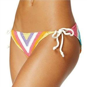 NWT Bar III Rainbow Crochet Side Tie Bikin…